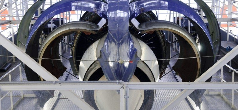Opened engine of a Lufthansa Cargo MD-11F