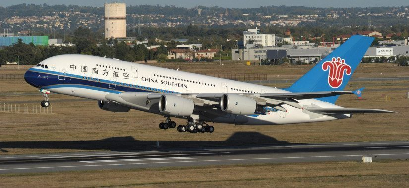 A China Southern Airlines A380 takes off from Beijing