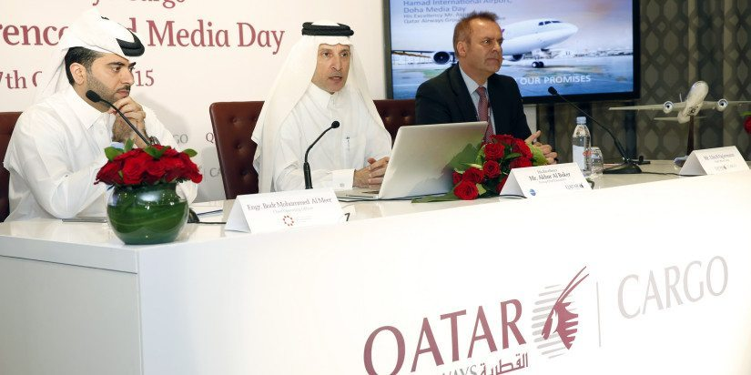 From the left, Qatar Airways' Badr Mohammed Al Meer, Akbar Al Baker and cargo chief Ulrich Ogiermann