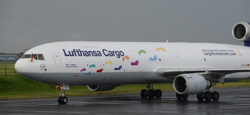 A Lufthansa Cargo MD-11F emblazoned with the footprints of Kenyan orphans