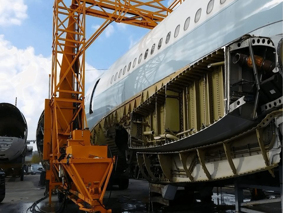 One of Cathay Pacific's A340s, undergoing dismantling