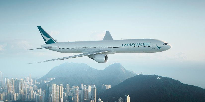 A Cathay B777-300 passenger aircraft with the airline's new livery