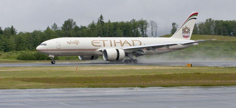 An Etihad Crystal Cargo Boeing 777 freighter