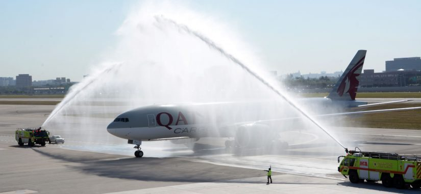 Qatar Cargo B777 freighter arrives in Americas